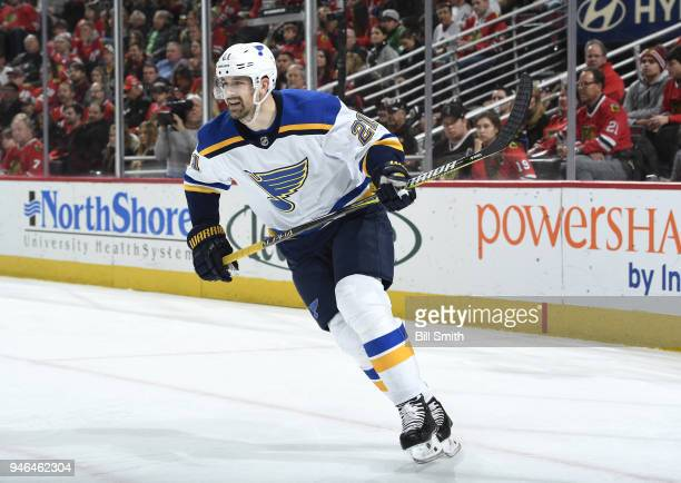 Patrik Berglund of the St Louis Blues looks up the ice in the second period against the Chicago Blackhawks at the United Center on April 6 2018 in...