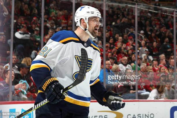 Patrik Berglund of the St Louis Blues reacts after scoring against the Chicago Blackhawks in the third period at the United Center on April 6 2018 in...