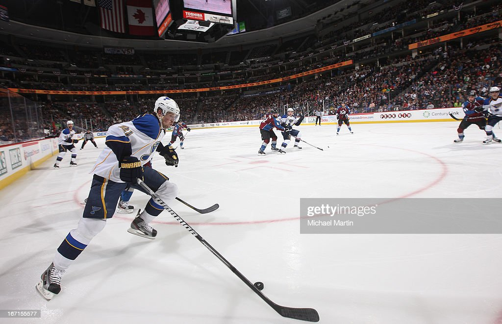 Patrik Berglund #21 of the St Louis Blues skates with the puck against the Colorado Avalanche at the Pepsi Center on April 21, 2013 in Denver, Colorado.