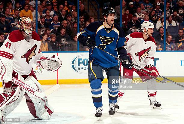 Patrik Berglund of the St Louis Blues takes position between goalie Mike Smith and Rostislav Klesla of the Phoenix Coyotes during an NHL game on...