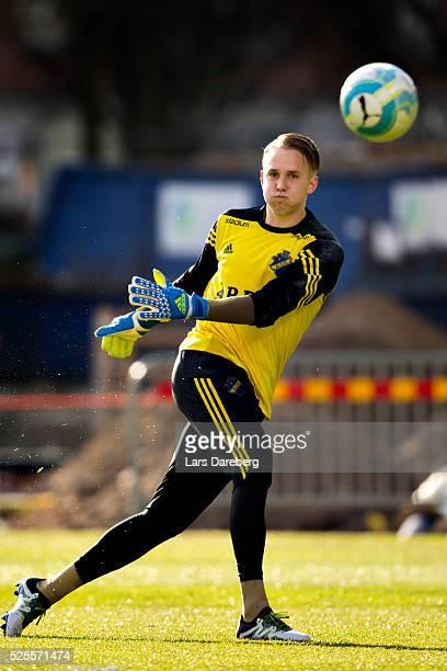 Patrik Carlgren goalkeeper of AIK before the Allsvenskan match between Helsingborgs IF and AIK at Olympia on April 28 2016 in Helsingborg Sweden