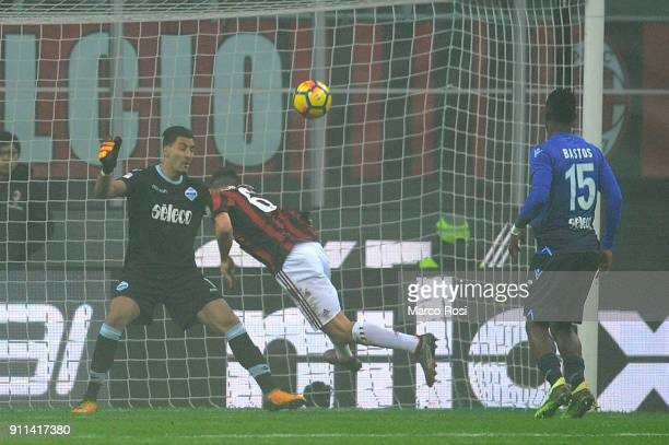 Patrik Cutrone of AC Milan scores a opening goal during the serie A match between AC Milan and SS Lazio at Stadio Giuseppe Meazza on January 28 2018...