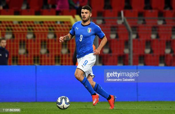 Patrik Cutrone of Italy U21 in action during the International Friendly match between Italy U21 and Austria U21 at Stadio Nereo Rocco on March 21...