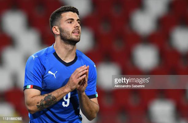 Patrik Cutrone of Italy U21 reacts during the International Friendly match between Italy U21 and Austria U21 at Stadio Nereo Rocco on March 21 2019...