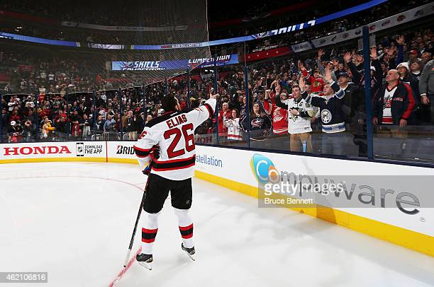 Patrik Elias of the New Jersey Devils and Team Toews reacts during the Discover NHL Shootout event of the 2015 Honda NHL AllStar Skills Competition...