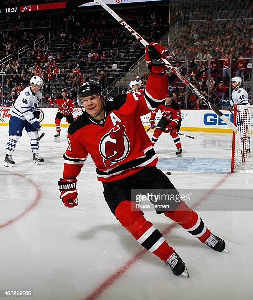 Patrik Elias of the New Jersey Devils celebrates his 400th career goal at 123 of the second period against the Toronto Maple Leafs at the Prudential...