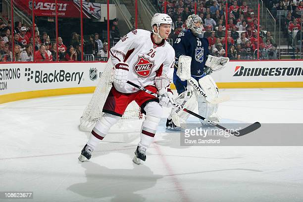 Patrik Elias of the New Jersey Devils for team Staal skates against team Lidstrom during the 58th NHL AllStar Game at the RBC Center on January 30...