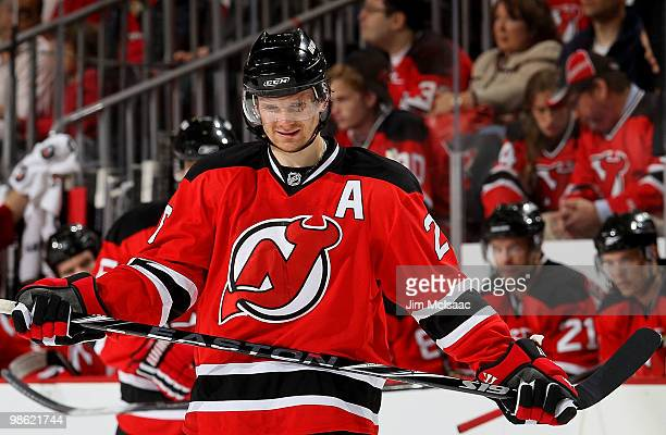 Patrik Elias of the New Jersey Devils looks on against the Philadelphia Flyers in Game 5 of the Eastern Conference Quarterfinals during the 2010 NHL...