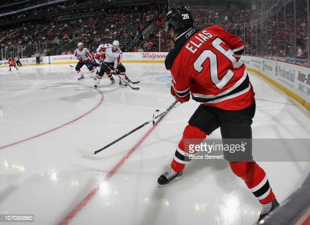 Patrik Elias of the New Jersey Devils skates against the Washington Capitals at the Prudential Center on November 22 2010 in Newark New Jersey The...