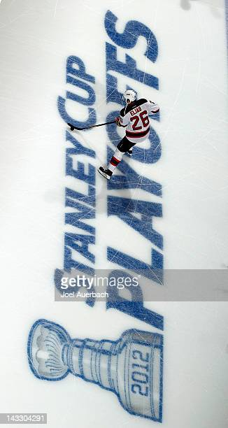 Patrik Elias of the New Jersey Devils warms up prior to the game against the Florida Panthers in Game Five of the Eastern Conference Quarterfinals...