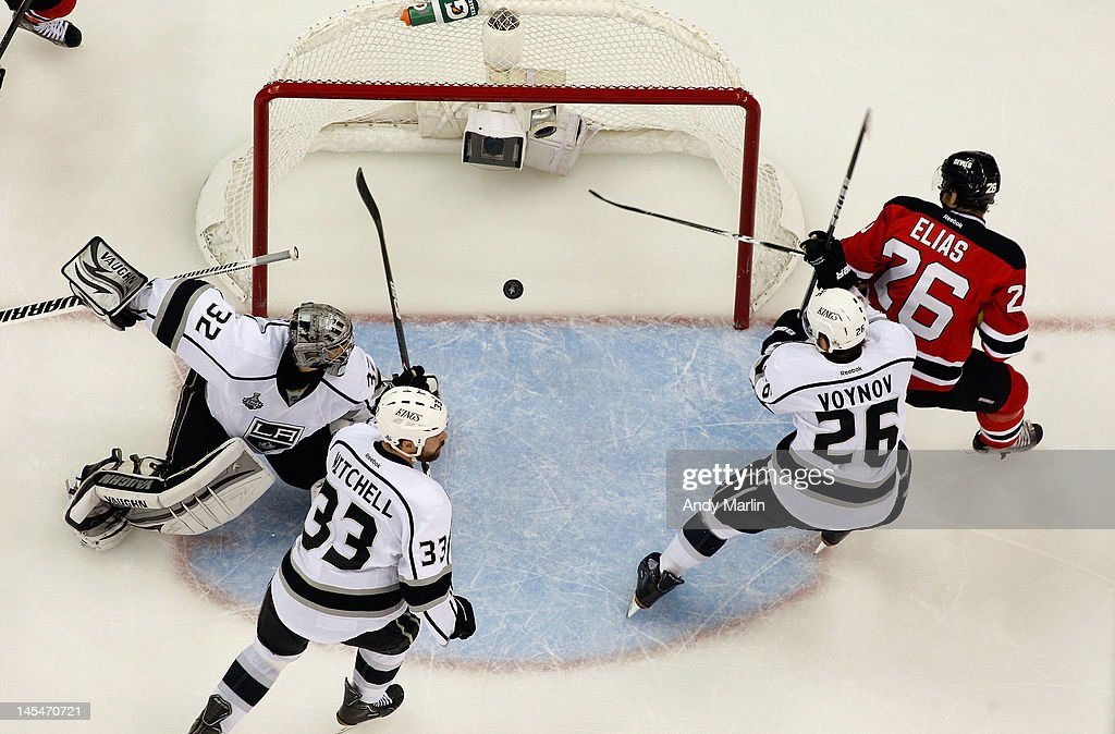 Patrik Elias #26 of the New Jersey Devils watches the puck into the net on a goal by Anton Volchenkov #28 (not pictured) against the Los Angeles Kings in Game One of the 2012 NHL Stanley Cup Final at the Prudential Center on May 30, 2012 in Newark, New Jersey.