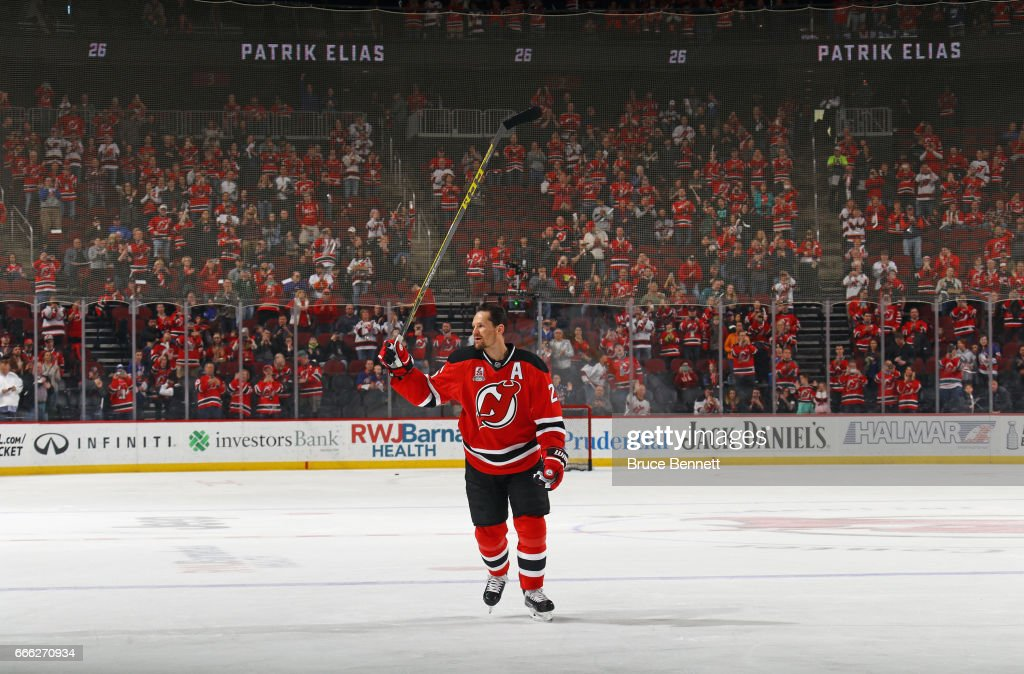 Patrik Elias #26 of the New Jersey Devils who recently announced his retirement, skates in warm-ups prior to the game against the New York Islanders at the Prudential Center on April 8, 2017 in Newark, New Jersey.