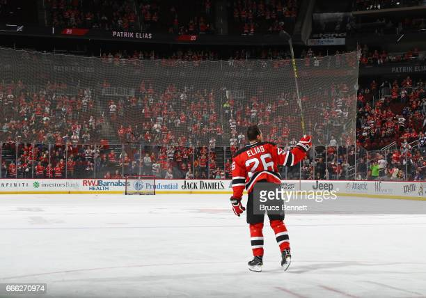 Patrik Elias of the New Jersey Devils who recently announced his retirement skates in warmups prior to the game against the New York Islanders at the...