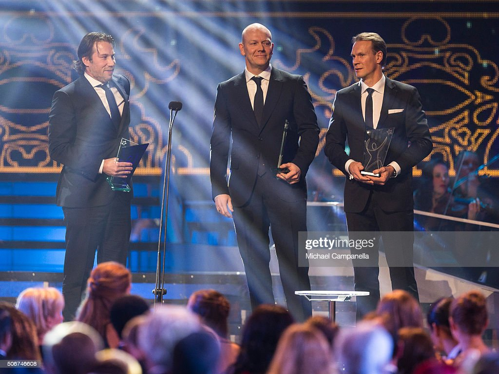 Patrik Forsberg, Mats Sundin, and Nicklas Lidstrom win an honorary prize at the Swedish Sports Gala at the Ericsson Globe on January 25, 2016 in Stockholm, Sweden.