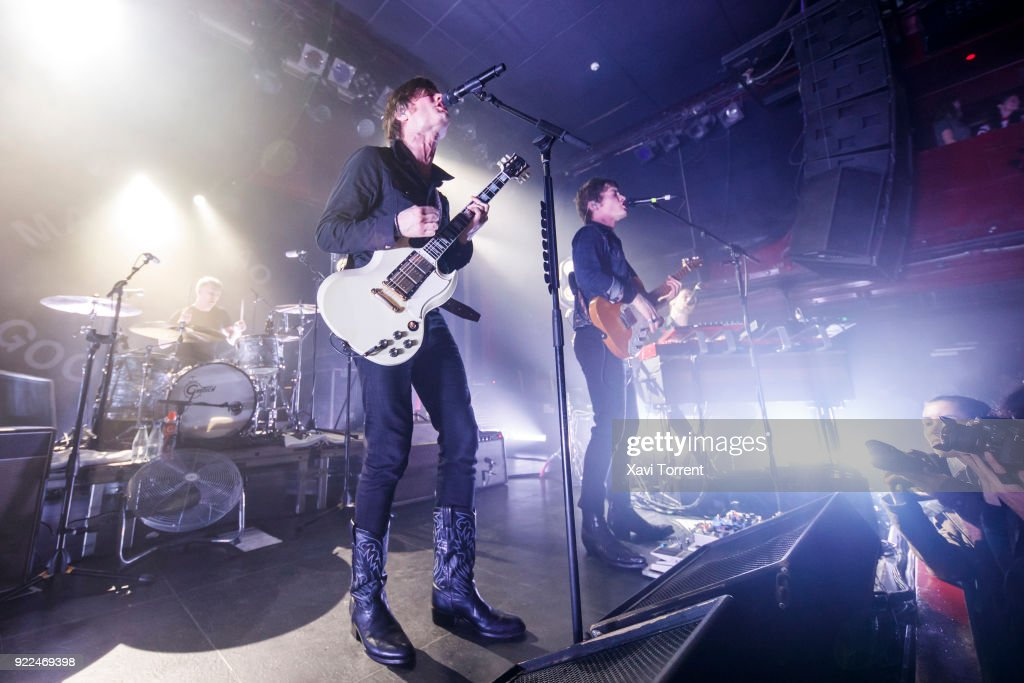 Patrik Heikinpieti, Bjorn Dixgard and Jens Siverstedt of Mando Diao perform in concert at Sala Apolo on February 21, 2018 in Barcelona, Spain.