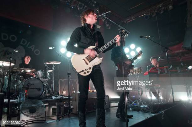 Patrik Heinkipieti Bjorn Dixgard Jens Siverstedt and Daniel Haglund of Mando Diao perform on stage at Sala Apolo on February 21 2018 in Barcelona...
