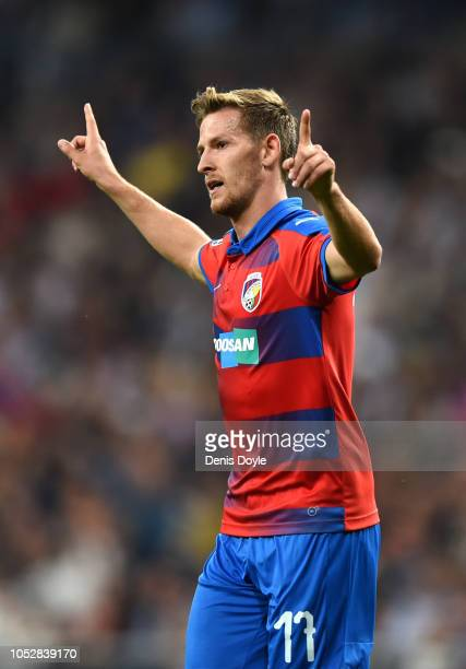 Patrik Hrosovsky of FC Viktoria Plzen celebrates after scoring his team's first goal during the Group G match of the UEFA Champions League between...