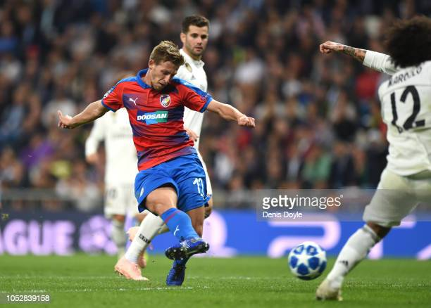 Patrik Hrosovsky of FC Viktoria Plzen scores his team's first goal during the Group G match of the UEFA Champions League between Real Madrid and...