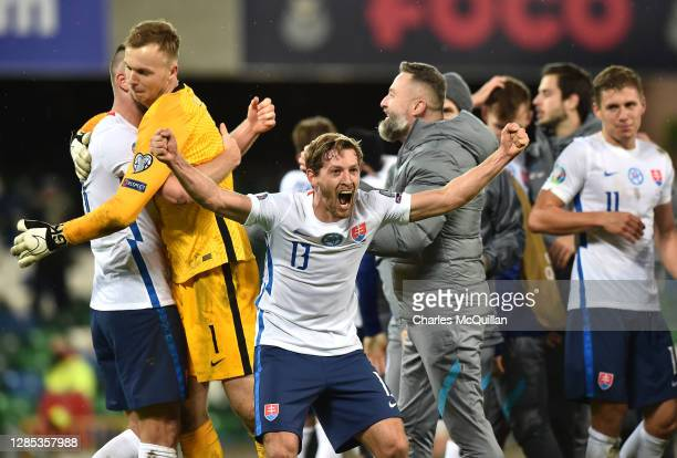 Patrik Hrosovsky of Slovakia celebrates during the UEFA EURO 2020 Play-Off Final between Northern Ireland and Slovakia at Windsor Park on November...