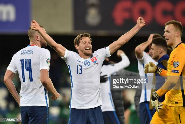 Patrik Hrosovsky of Slovakia celebrates during the UEFA EURO 2020 PlayOff Final between Northern Ireland and Slovakia at Windsor Park on November 12...