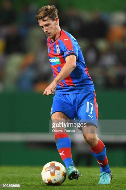 Patrik Hrosovsky of Viktoria Plzen in action during the UEFA Europa League Round of 16 first leg match between Sporting Lisbon and Viktoria Plzen at...