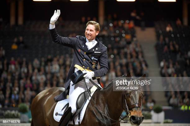 Patrik Kittel of Sweden rides his horse Deja during the FEI Grand Prix Freestyle to Music event at the Sweden International Horse Show on December 2...