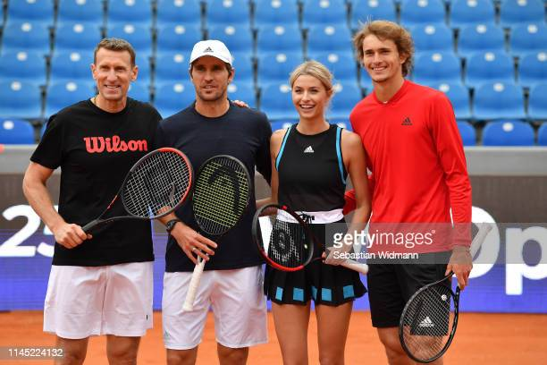 Patrik Kuehnen , Mischa Zverev, Lena Gercke and Alexander Zverev pose for a picture after a Celebrity Tennis Match at MTTC IPHITOS on April 26, 2019...