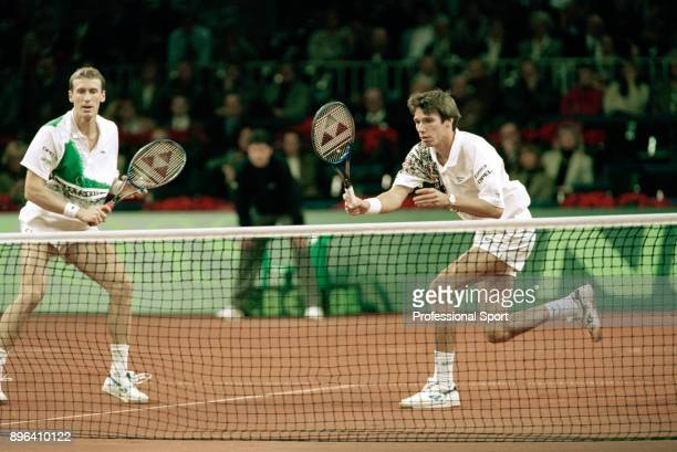 Patrik Kuhnen and Michael Stich of Germany in action during their doubles match against Todd Woodbridge and Mark Woodforde of Australia during the...