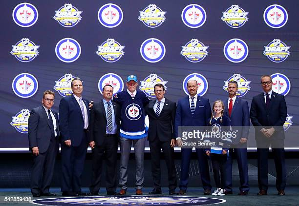 Patrik Laine celebrates with the Winnepeg Jets after being selected second overall during round one of the 2016 NHL Draft on June 24 2016 in Buffalo...