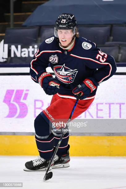 Patrik Laine of the Columbus Blue Jackets skates against the Dallas Stars on February 4, 2021 at Nationwide Arena in Columbus, Ohio.