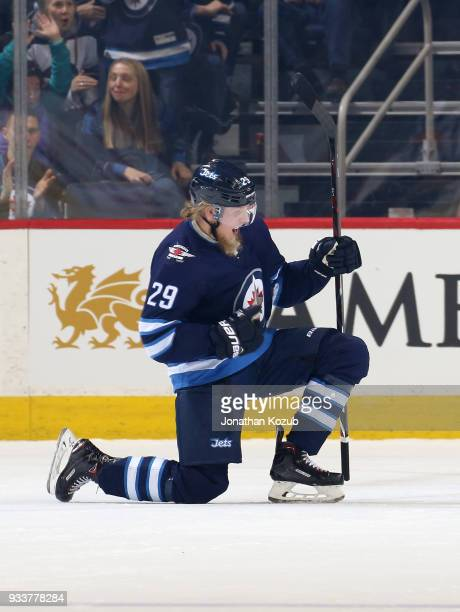 Patrik Laine of the Winnipeg Jets celebrates after scoring a first period goal against the Dallas Stars at the Bell MTS Place on March 18 2018 in...