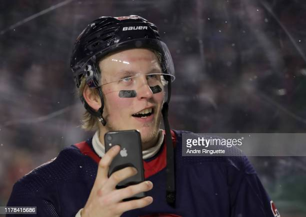Patrik Laine of the Winnipeg Jets celebrates following a 2-1 win over the Calgary Flames during the 2019 Tim Hortons NHL Heritage Classic at Mosaic...