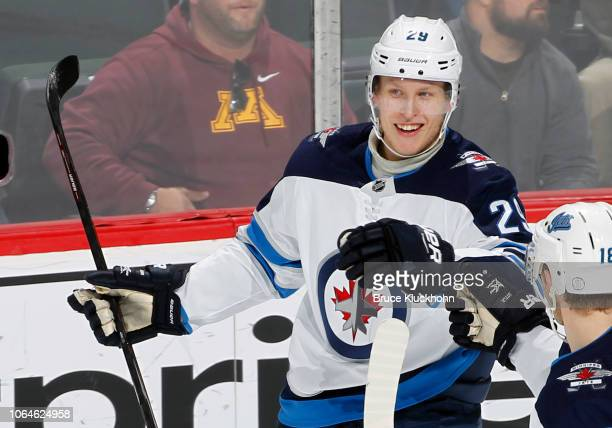 Patrik Laine of the Winnipeg Jets celebrates his 1st period goal during a game with the Minnesota Wild at Xcel Energy Center on November 23 2018 in...