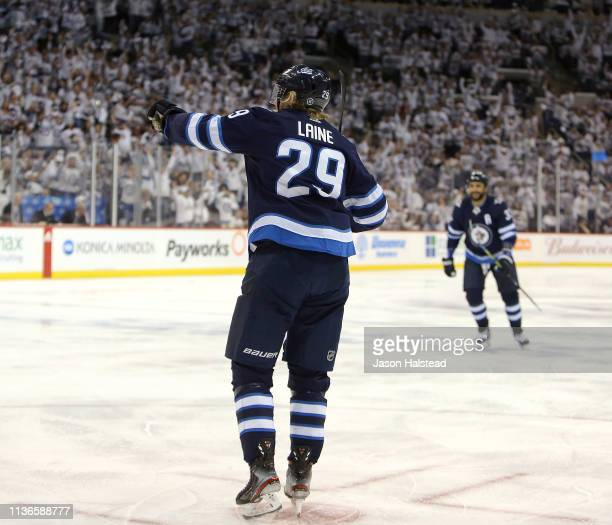 Patrik Laine of the Winnipeg Jets celebrates his goal against the St. Louis Blues in Game Two of the Western Conference First Round during the 2019...