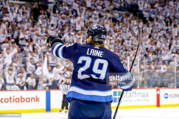 Patrik Laine of the Winnipeg Jets celebrates his second period goal against the St. Louis Blues in Game Two of the Western Conference First Round...