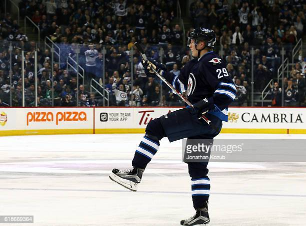 Patrik Laine of the Winnipeg Jets celebrates his second period goal against the Dallas Stars at the MTS Centre on October 27 2016 in Winnipeg...