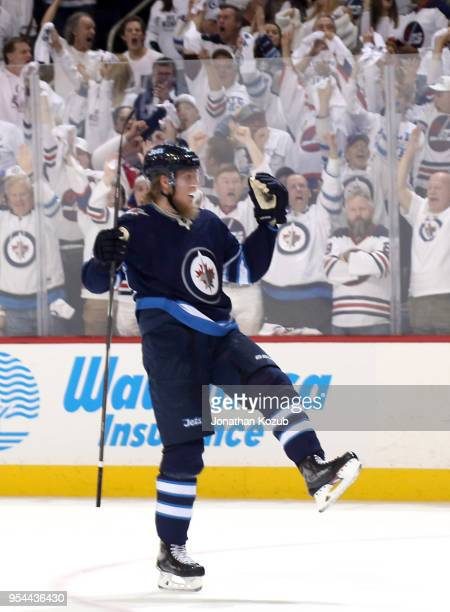 Patrik Laine of the Winnipeg Jets celebrates his third period goal against the Nashville Predators in Game Four of the Western Conference Second...