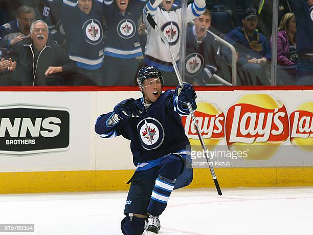 Patrik Laine of the Winnipeg Jets celebrates the tying goal in third period action against the Toronto Maple Leafs at the MTS Centre on October 19...