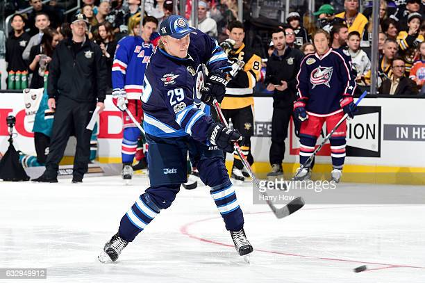 Patrik Laine of the Winnipeg Jets competes in the Honda NHL Four Line Challenge during the 2017 Coors Light NHL AllStar Skills Competition as part of...