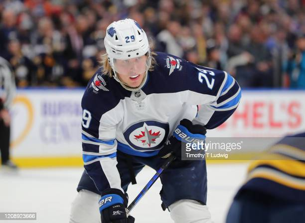 Patrik Laine of the Winnipeg Jets during a game against the Buffalo Sabres at KeyBank Center on February 23, 2020 in Buffalo, New York.