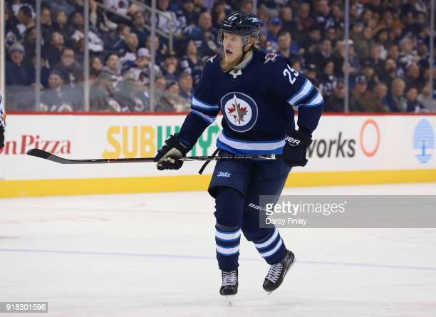 Patrik Laine of the Winnipeg Jets follows the play down the ice during second period action against the New York Rangers at the Bell MTS Place on...