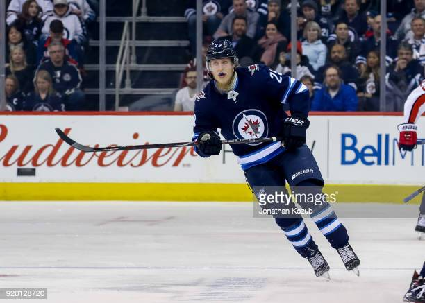 Patrik Laine of the Winnipeg Jets follows the play down the ice during first period action against the Washington Capitals at the Bell MTS Place on...