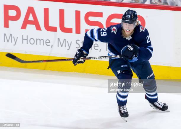 Patrik Laine of the Winnipeg Jets follows the play down the ice during second period action against the Vegas Golden Knights in Game One of the...
