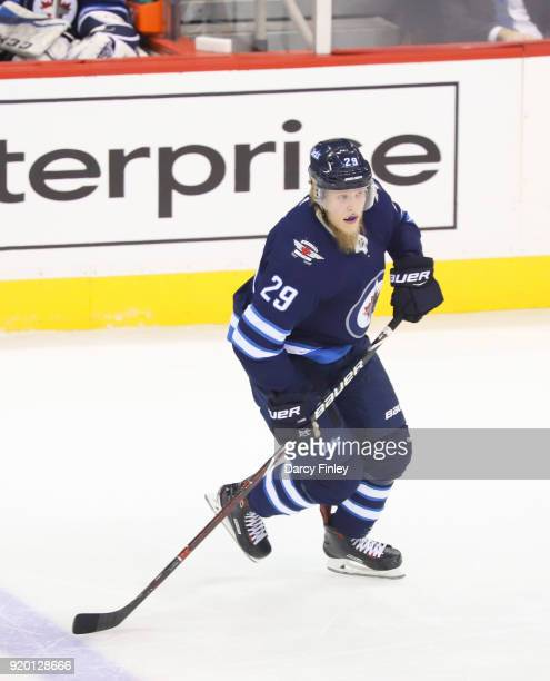 Patrik Laine of the Winnipeg Jets follows the play during first period action against the Washington Capitals at the Bell MTS Place on February 13...