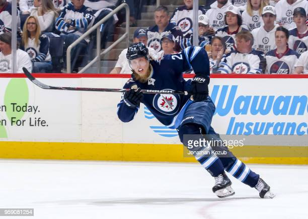 Patrik Laine of the Winnipeg Jets follows the play up the ice during third period action against the Vegas Golden Knights in Game One of the Western...