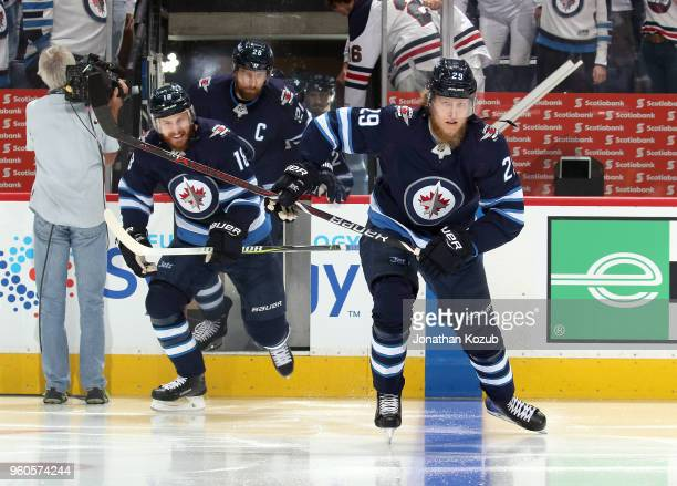 Patrik Laine of the Winnipeg Jets hits the ice prior to puck drop against the Vegas Golden Knights in Game Five of the Western Conference Final...