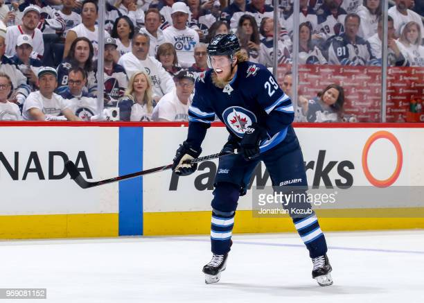 Patrik Laine of the Winnipeg Jets keeps an eye on the play during first period action against the Vegas Golden Knights in Game One of the Western...