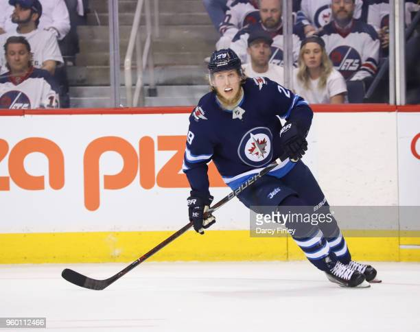 Patrik Laine of the Winnipeg Jets keeps an eye on the play during first period action against the Vegas Golden Knights in Game Two of the Western...