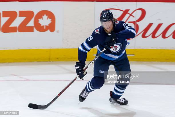 Patrik Laine of the Winnipeg Jets keeps an eye on the play during second period action against the Vegas Golden Knights in Game Five of the Western...