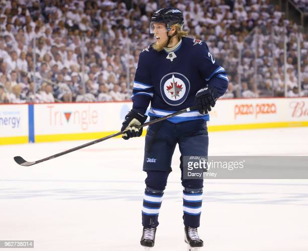 Patrik Laine of the Winnipeg Jets keeps an eye on the play during first period action against the Vegas Golden Knights in Game Five of the Western...